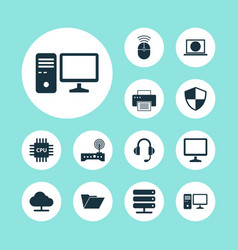 Laptop icons set collection of earphone router vector