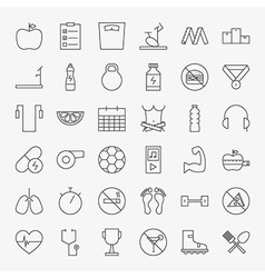 Line Fitness and Dieting Icons Big Set vector image