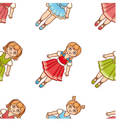 little ballerina cartoon style seamless pattern vector image