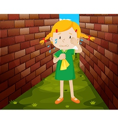 Little girl crying alone vector