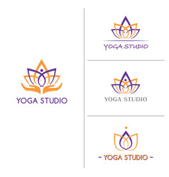 lotus flower logo template for yoga studio vector image