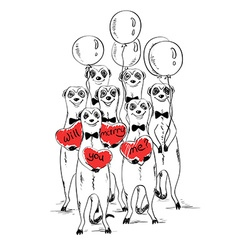 Love Card With Funny Meerkats vector image