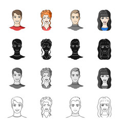 man brown haired and other web icon in cartoon vector image