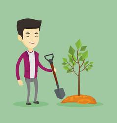 man plants tree vector image