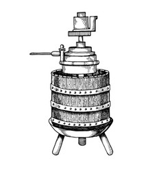 mechanical wine press engraving vector image