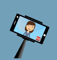 Monopod selfie woman self portrait tool for vector