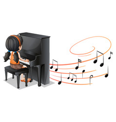 musical melody symbols with a girl playing piano vector image