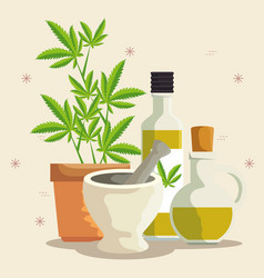 Nature cannabis plants oil in bottles and vector