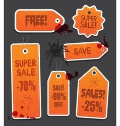 Orange Halloween price sale tags isolated on black vector image