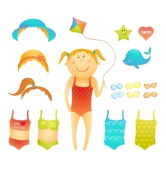 Paper doll cute beach girl in doodle style vector image