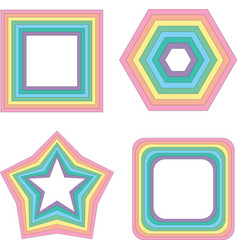 pastel rainbow square star and other - vector image