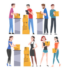 People packing and checking cardboard boxes set vector
