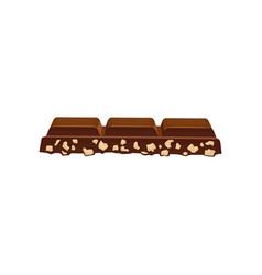 piece of dark chocolate with nuts delicious vector image