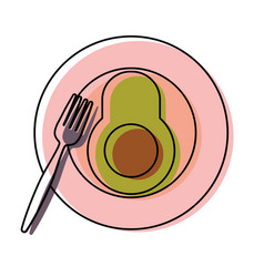plate with avocado vector image