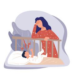 Postnatal depression stressed woman standing vector