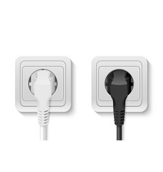 Realistic 3d white and black plug inserted vector
