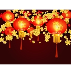 Red Chinese lanterns Round shape with patterns vector