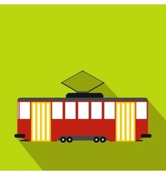 Red tram icon flat style vector