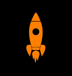 rocket sign orange icon on black vector image