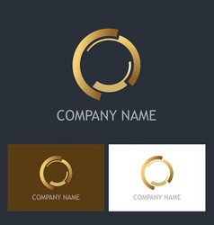 Round gold luxury logo vector