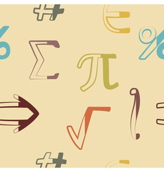 Seamless background with mathematical symbols vector image