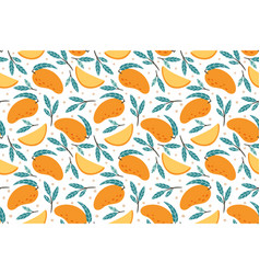 seamless mango pattern hand drawn doodle gourmet vector image