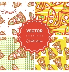 Seamless pattern set with pizza vector