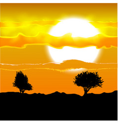 several tree silhouette under the african sun and vector image