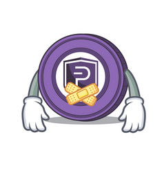 silent pivx coin mascot cartoon vector image