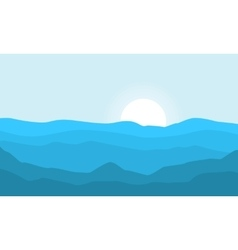 Silhouette of hill and sun at morning landscape vector image