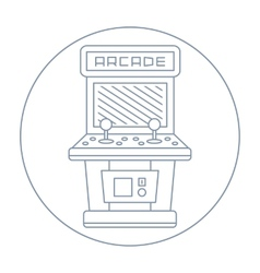 Simple line drawn vintage game arcade cabinet icon vector