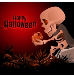 Skeleton holding a skull text Happy Halloween vector image