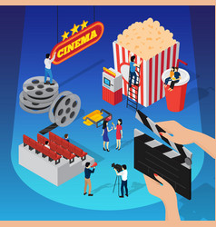 spotlight cinema isometric concept vector image