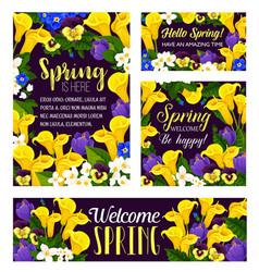 Spring flowers seasonal greeting posters vector