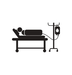 Stylish black and white icon patient with dropper vector
