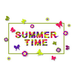 summer typography design with abstract paper cut vector image