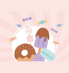sweet products donut ice cream marshmallow vector image