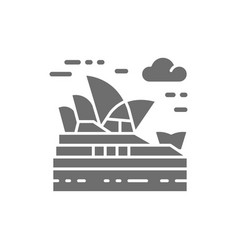 Sydney opera house australia landmark grey icon vector