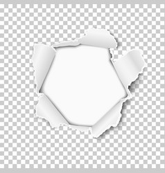 torn hole in the sheet of transparent paper vector image