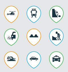 transport icons set with tram beware falling vector image