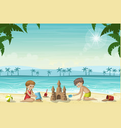Two kids build a sandcastle vector