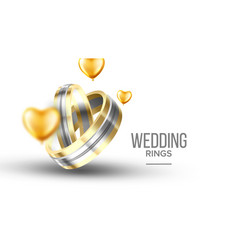 Wedding golden with platinum rings banner vector