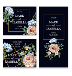 Wedding invitation with english roses vector