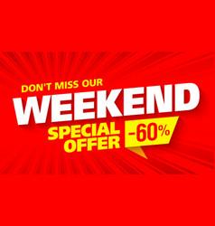 Weekend sale banner vector