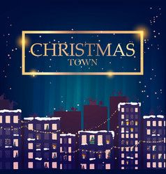 Winter christmas town at night image vector