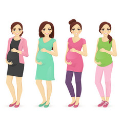 Woman pregnant clothers vector