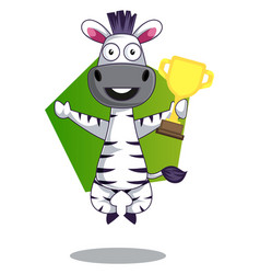 Zebra with trophy on white background vector