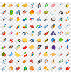 100 marketing icons set isometric 3d style vector image