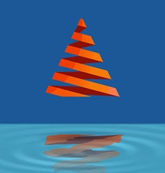 Christmas tree made with red ribbons levitate over vector image