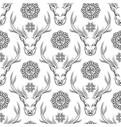 Deer head and flowers seamless pattern vector image vector image